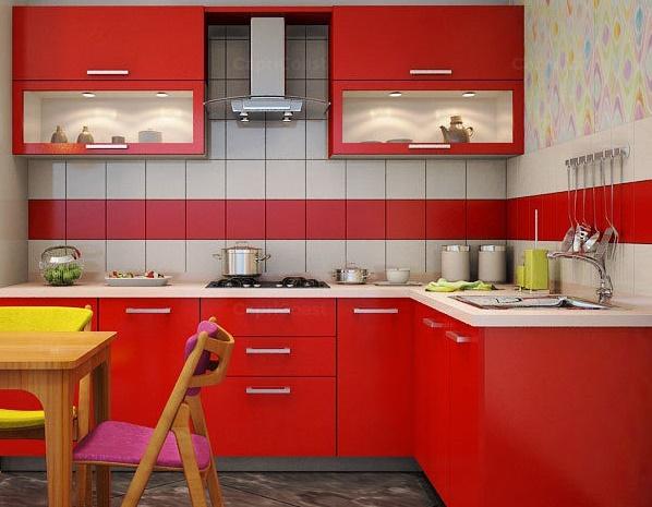 маленькая кухня красного цвета