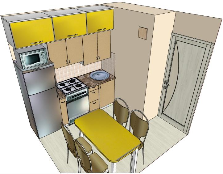 чертеж маленькой кухни с линейной композицией
