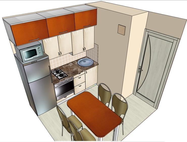 чертеж кухни хрущевки с линейной планировкой