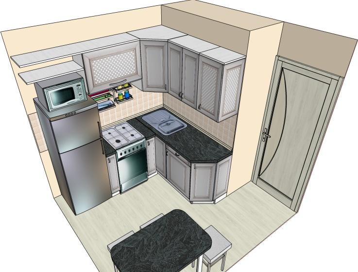 чертеж маленькой угловой кухни