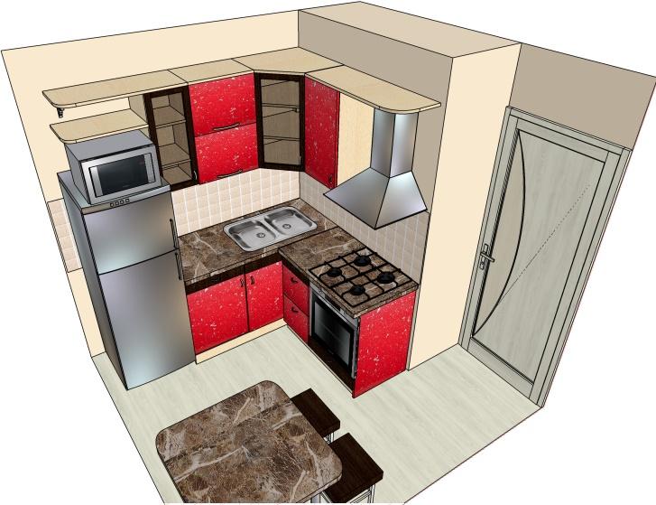 чертеж угловой кухни хрущевки