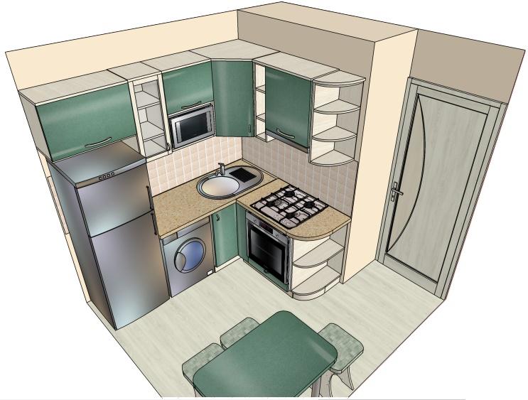 чертеж угловой маленькой кухни-хрущевки своими руками