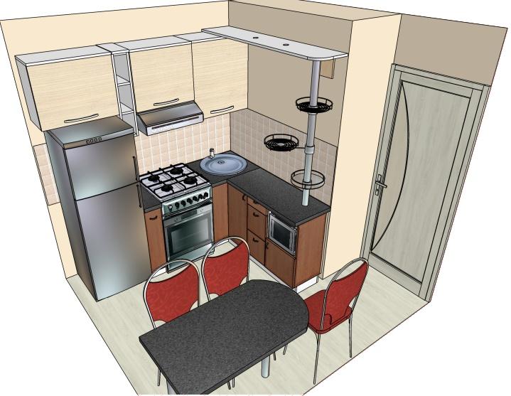 чертеж угловой кухни-хрущевки с зауженной столешницей