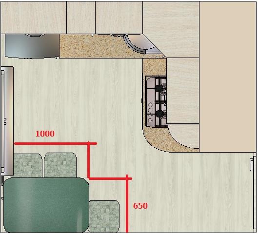 чертеж с размерами для кухонного стола на маленькую кухню-хрущевку