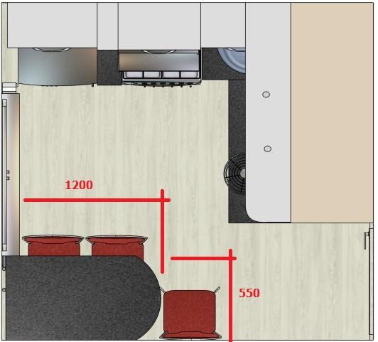 чертеж с размерами для кухонного стола на угловую маленькую кухню-хрущевку