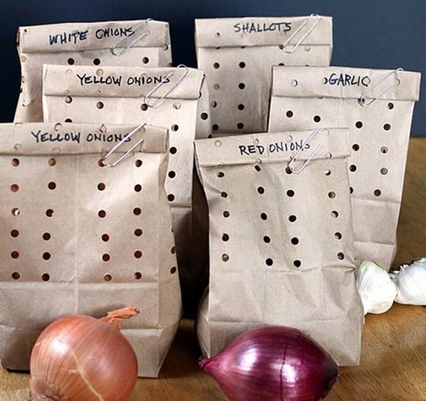 хранить овощи на кухне в бумажных пакетах