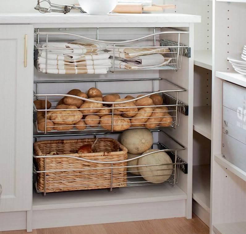 система хранения овощей на кухне