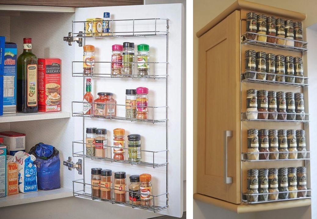 металлические органайзеры для хранения специй на кухне