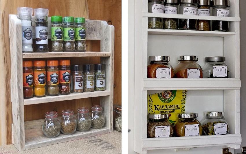 деревянные полки для хранения специй на кухне