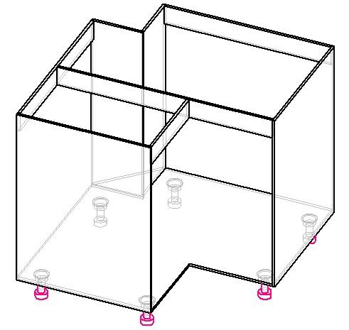 чертеж угловой тумбы под мойку Г-образной с дверцей трансформер