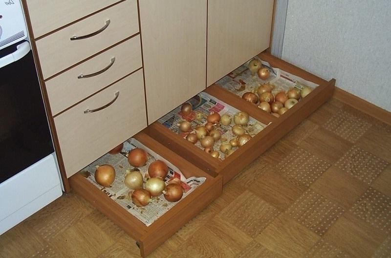 варианты хранения овощей на кухне
