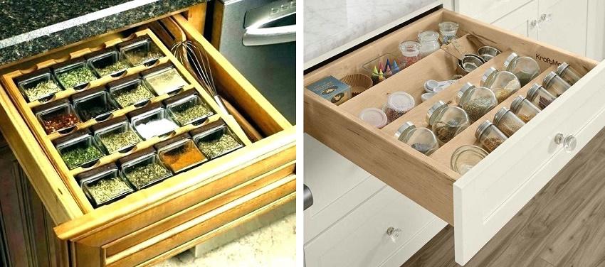 как организовать ящики для хранения специй на кухне