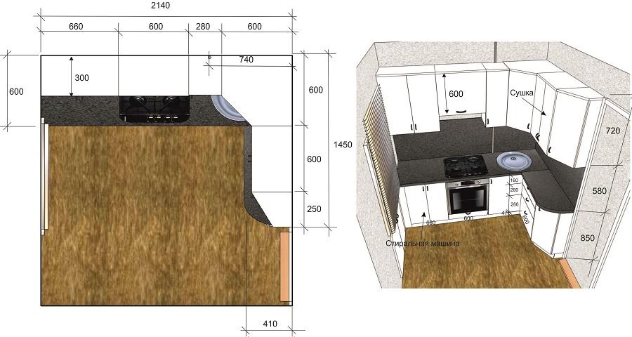 дизайн проект кухни со стандартными и нестандартными шкафами