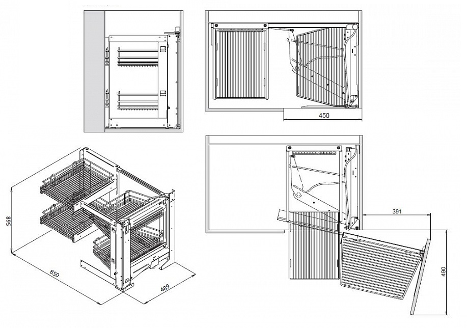 схема монтажа и размеры кухонного уголка