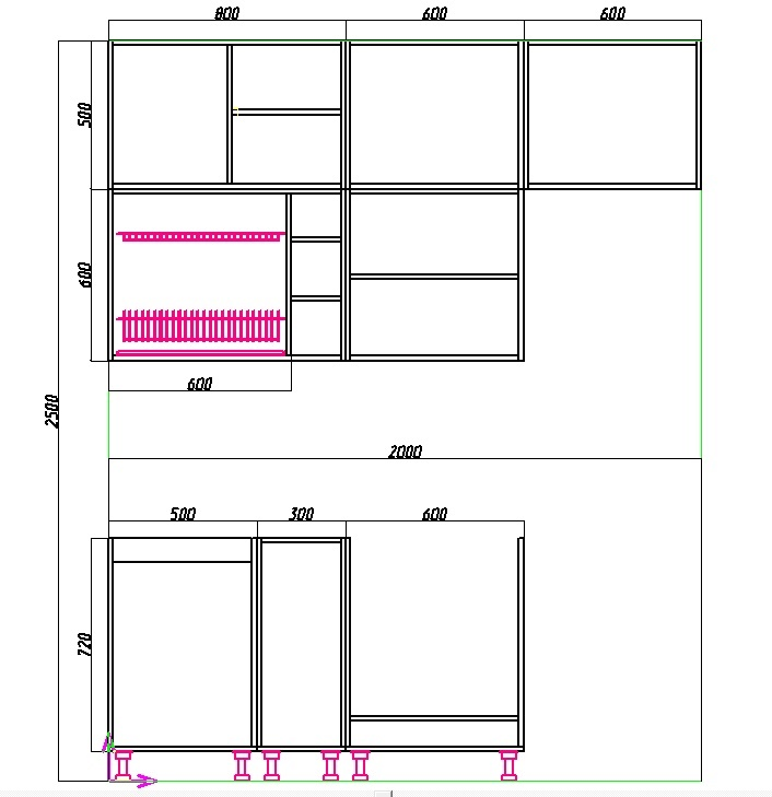 чертеж маленькой прямой кухни 2 метра с холодильником