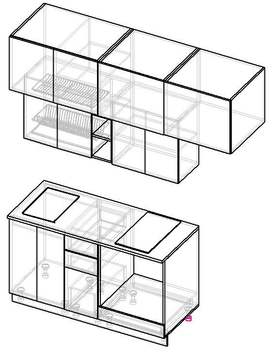 схема прямой кухни 2 метра с холодильником