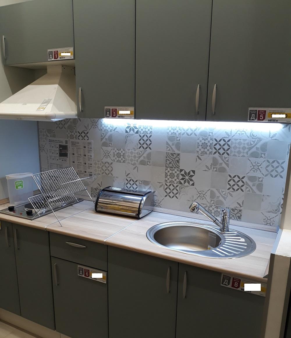 прямая кухня 2 метра с холодильником Леруа Мерлен