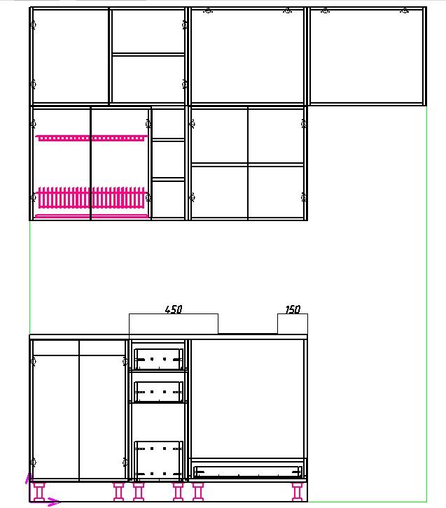 чертеж прямой кухни 2 метра с плитой и холодильником
