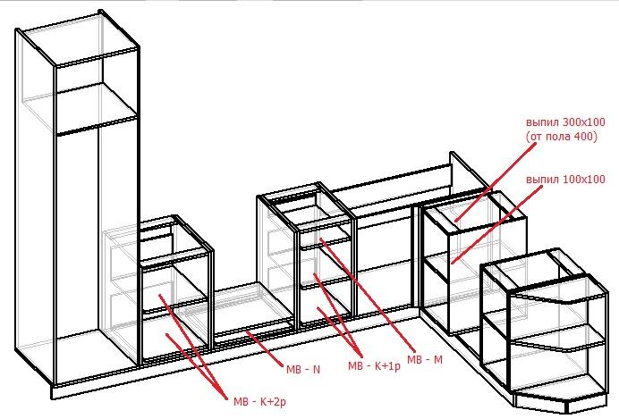 чертеж нижнего ряда кухни